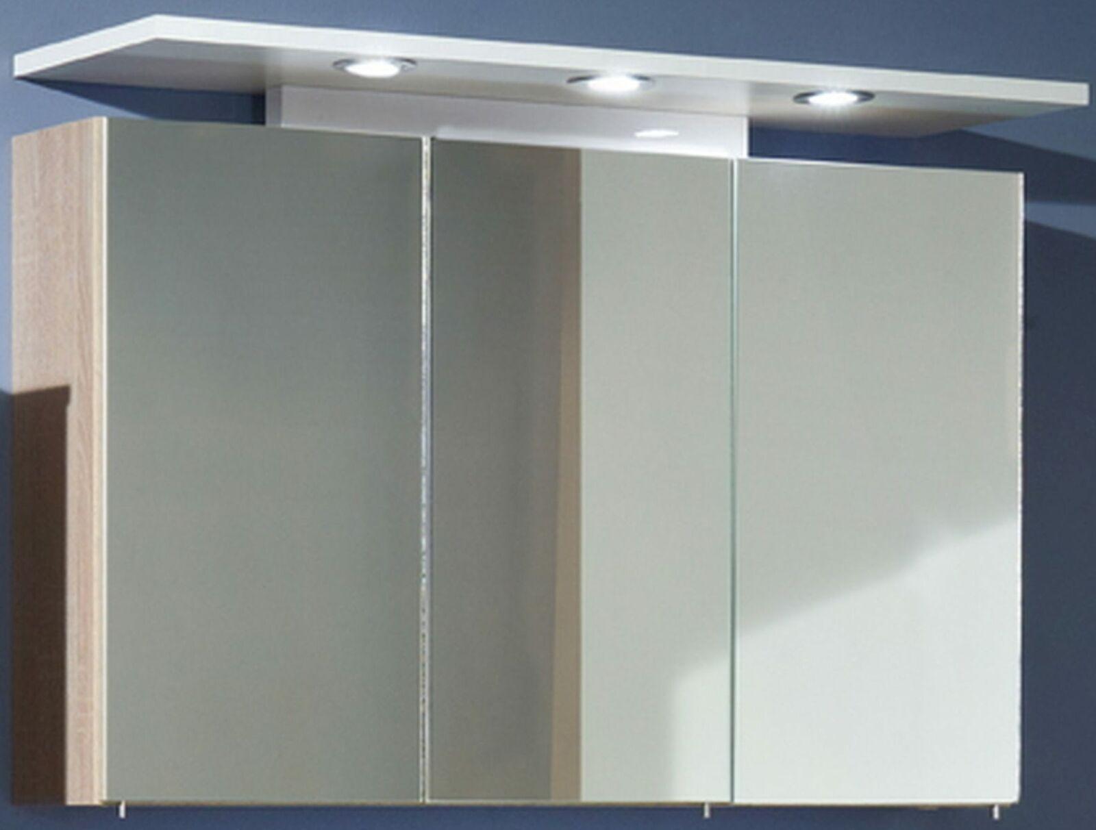 Berühmt Spiegelschrank 100 cm Badmöbel 3 x 1, 8 W LED Strahler Schalter XB34