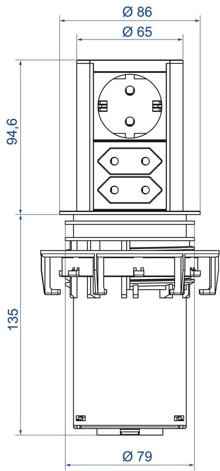 k chen einbau steckdose elevator ausfahrbar 1 schuko 2 euro steckdosen 547371 kaufen bei. Black Bedroom Furniture Sets. Home Design Ideas
