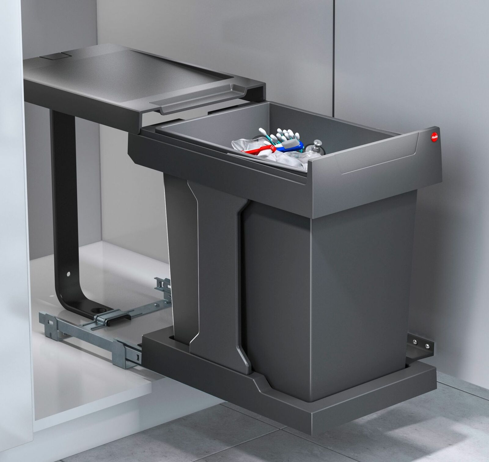 Abfalleimer Küche Ausfahrautomatik Mülleimer Einbau ab 20 cm 20x20 Liter  *5766206
