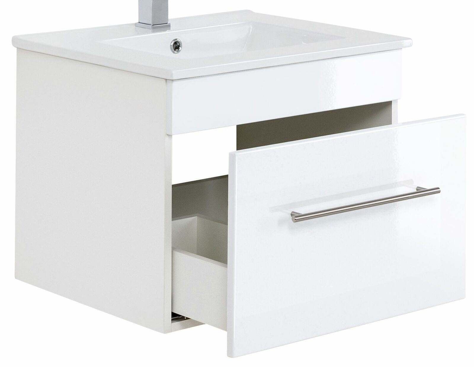 Waschplatz 75, 5 cm VIVA hängend Keramikbecken Schublade Waschtisch Gäste  WC Bad