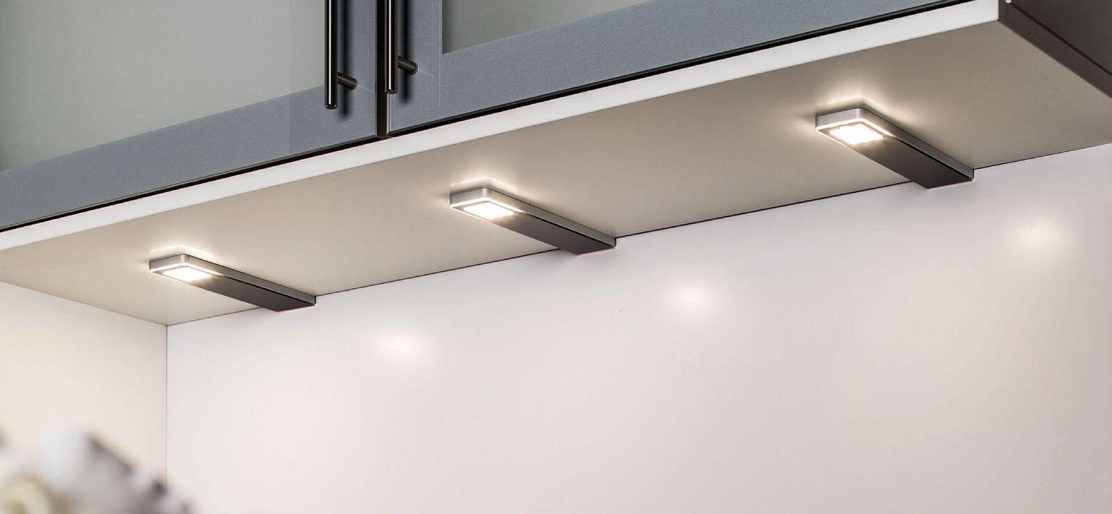 3-er Set LED Unterbauleuchte Küche dimmbar 3 x 5 Watt Konverter ...