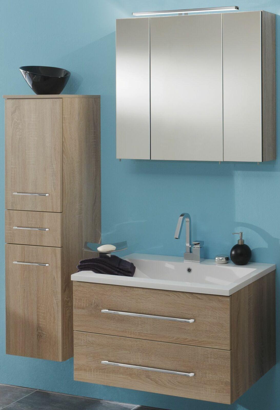 Badmöbel Set 3 Teile Waschplatz 80 cm LED Spiegelschrank Badezimmer ...