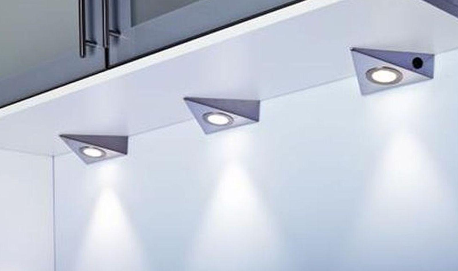 3-er Set LED Küchen Schrank Unterbauleuchte 3 Watt Leuchten ...
