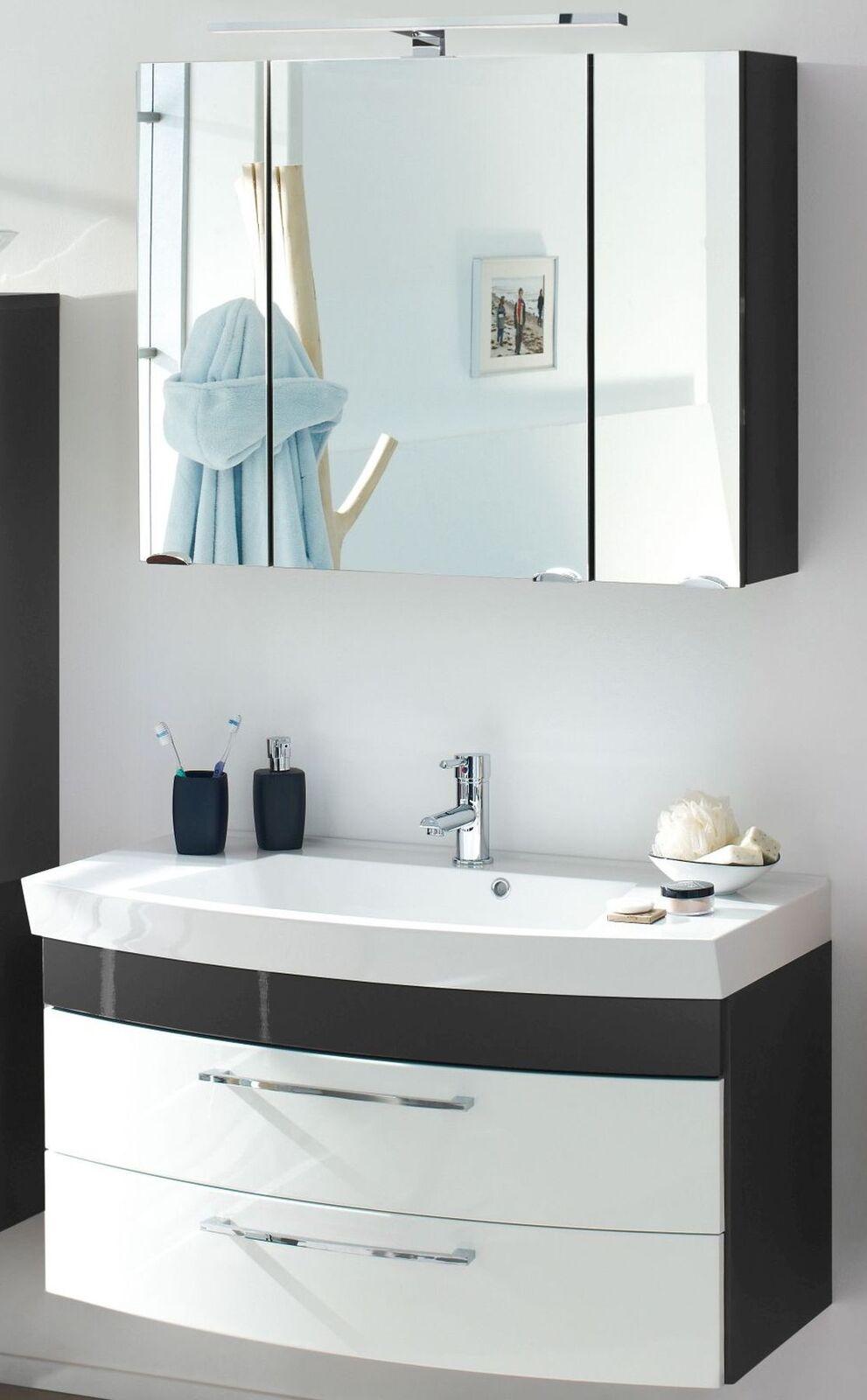 Badm bel badset 100 cm waschtisch led spiegelschrank bad set badezimmer m bel kaufen bei - Spiegelschrank bad 100 cm ...