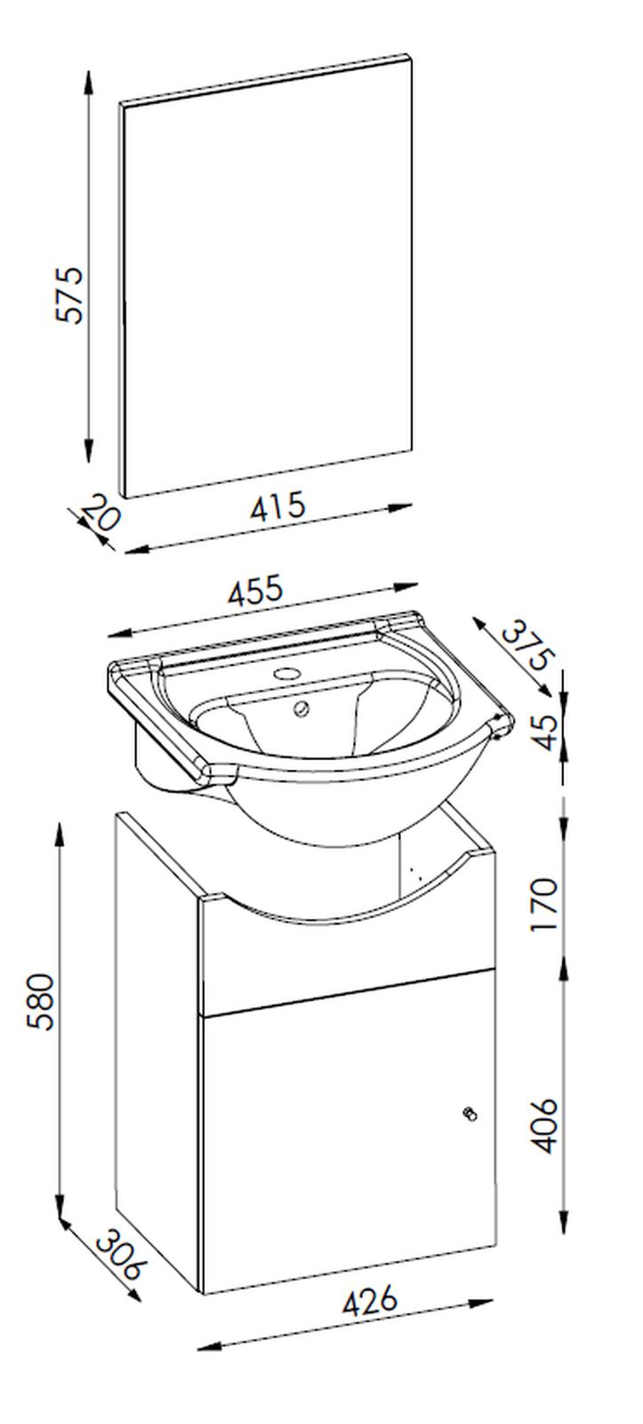 Waschplatz 46 Cm Nassau Inkl Spiegel Gaste Wc Waschtisch