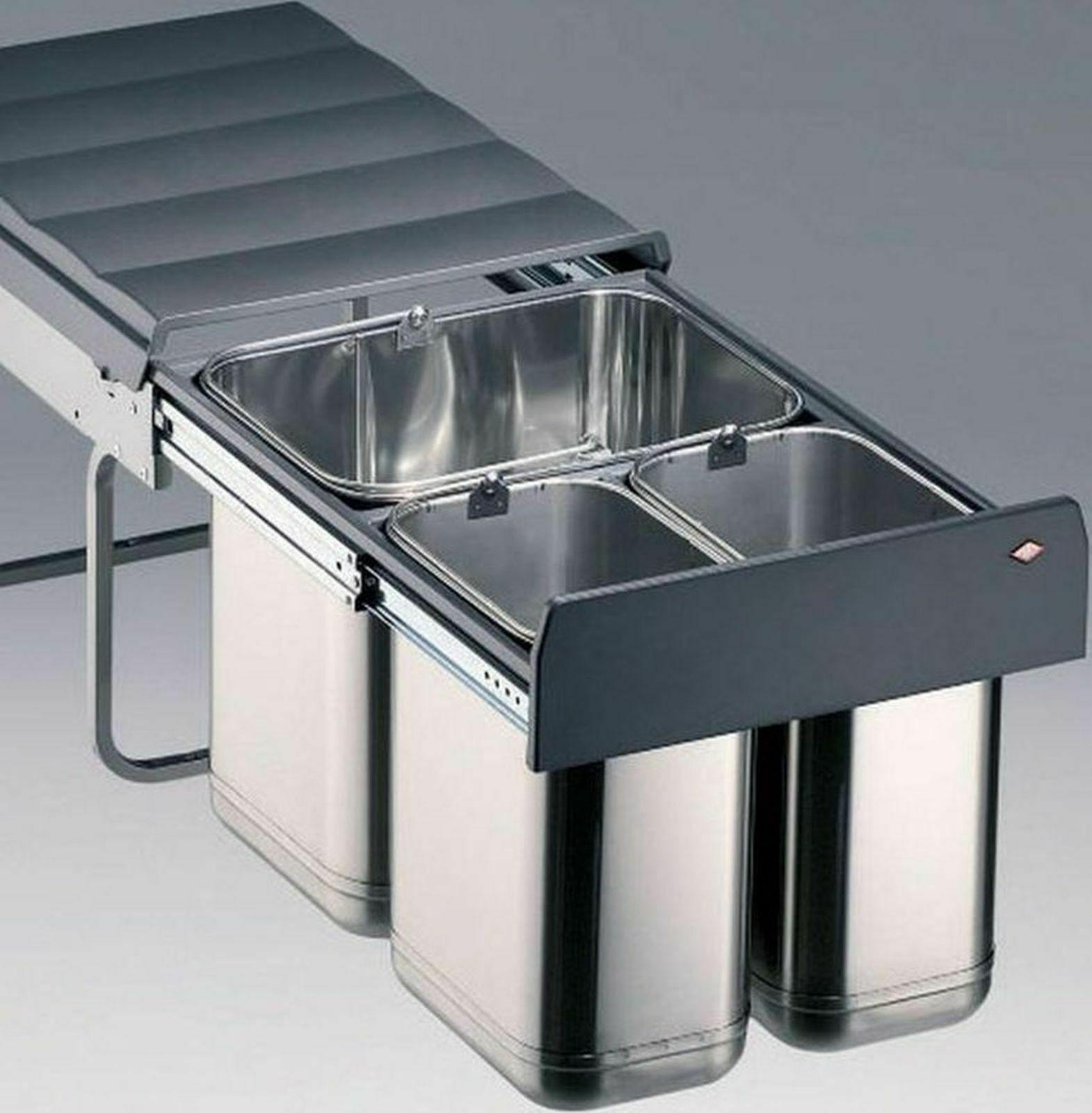 Küchen Einbau-Mülleimer 32 L Edelstahl Abfalleimer Wesco Mülltrennsystem  *515462