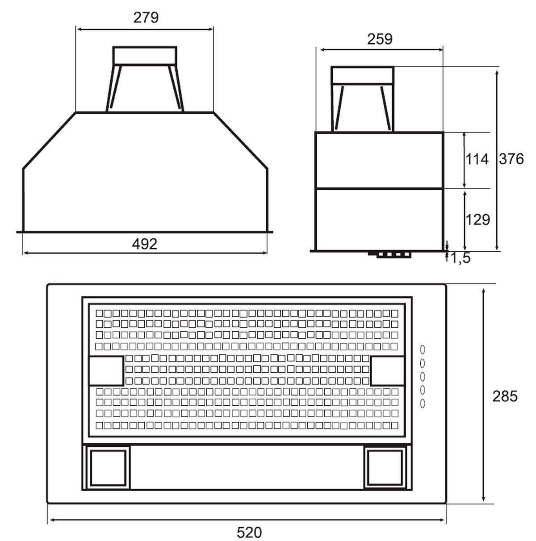 abluft schrank einbau dunstabzugshaube 60cm k che l fter cento edelstahl 537112 kaufen bei. Black Bedroom Furniture Sets. Home Design Ideas