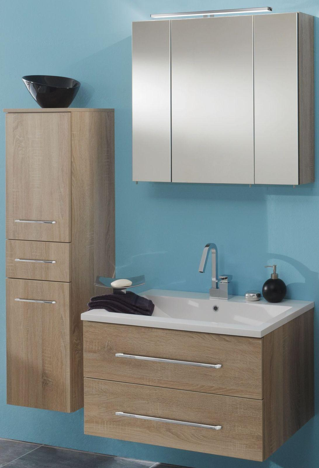 Badmöbelset 3 Teilig Eiche Waschtisch Hängend Spiegelschrank Badezimmer  Gäste WC 1 ...