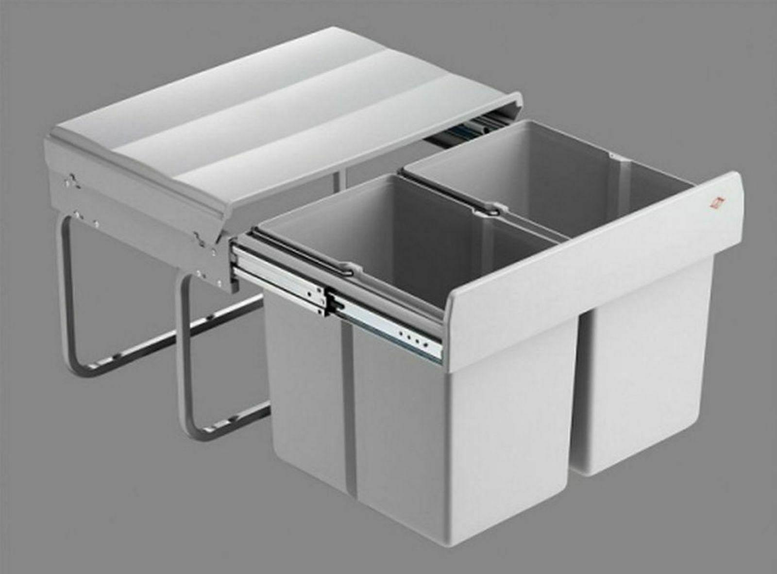 Mülleimer Küche 2x15 Liter Wesco Müllsystem ab 50 cm Schrank Abfalleimer  *40740