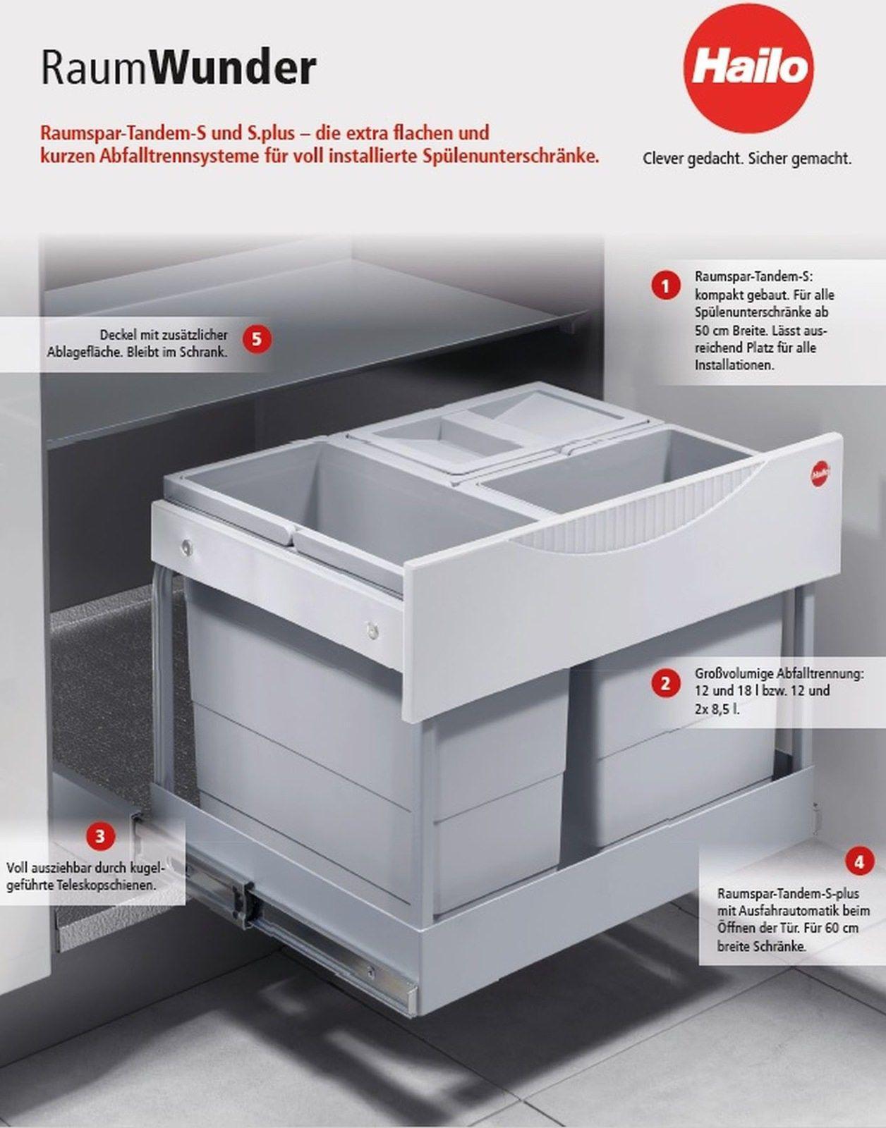Hailo Raumspar Tandem S-Plus Küchen Abfall Mülleimer 1 x 12, 1 x 18 ...