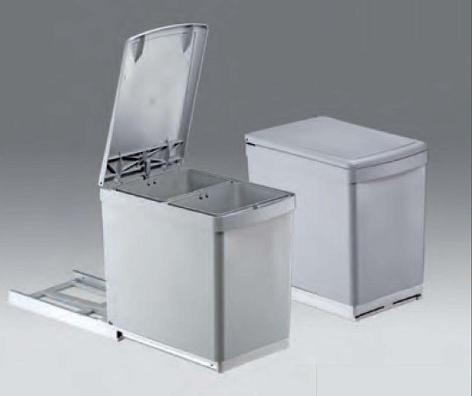 Wesco Basic-2 Küchen Abfall Mülleimer 2 x 7, 5 L Vollauszug 30 cm ...