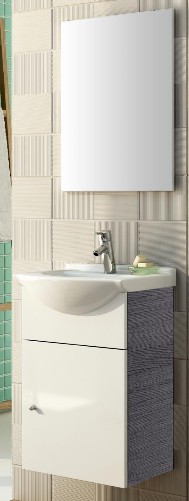 waschtisch 46 cm spiegel vormontiert gast wc g ste bad. Black Bedroom Furniture Sets. Home Design Ideas
