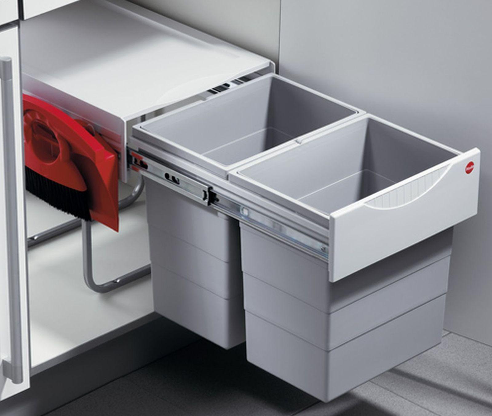 Hailo Tandem Big Einbau Küchen Abfall Mülleimer 2 x 20 Liter Kehrset ...