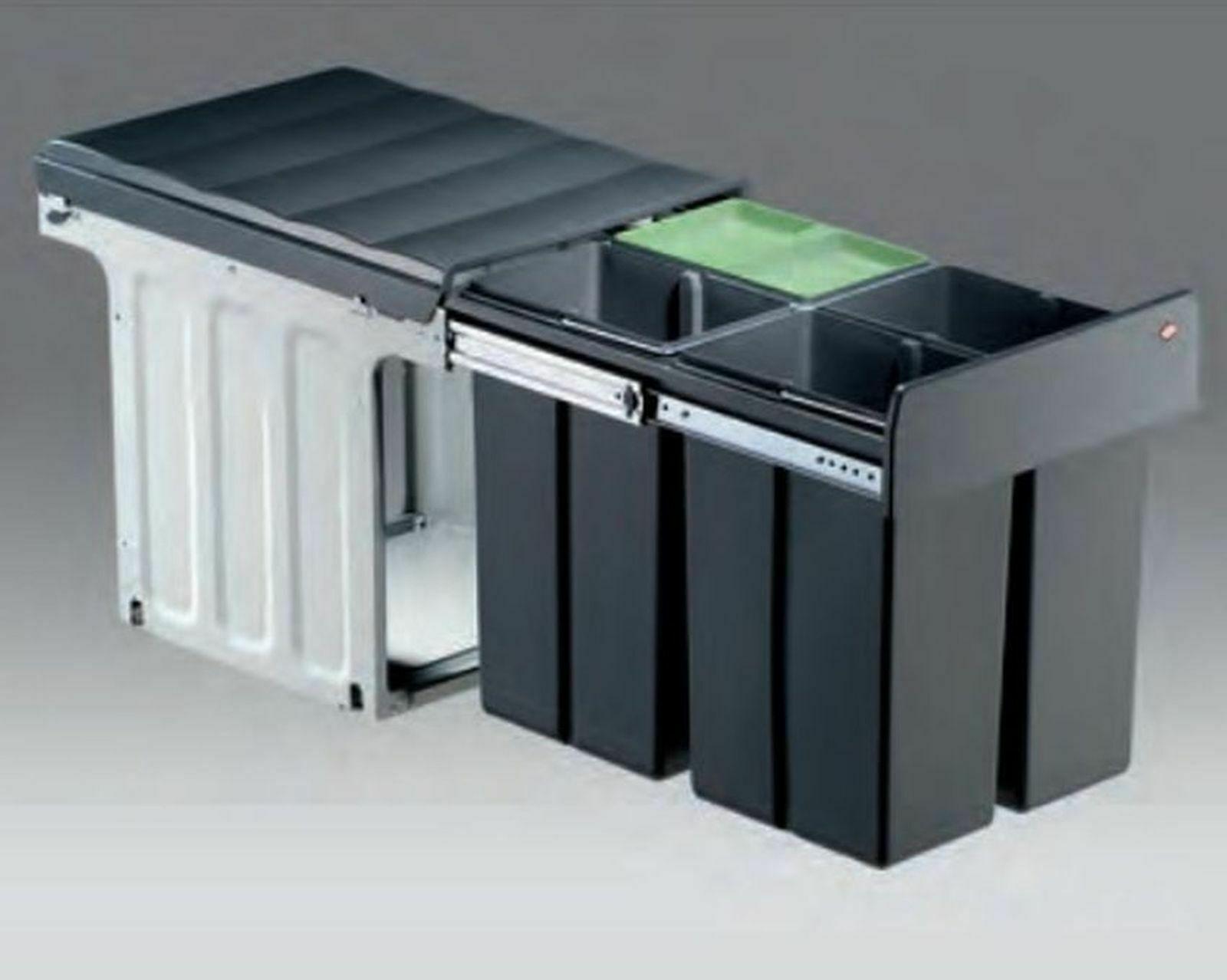 Wesco Küchen Mülleimer 4x10 Liter Mülltrennung 40 cm Schrank Müllsystem  *515660