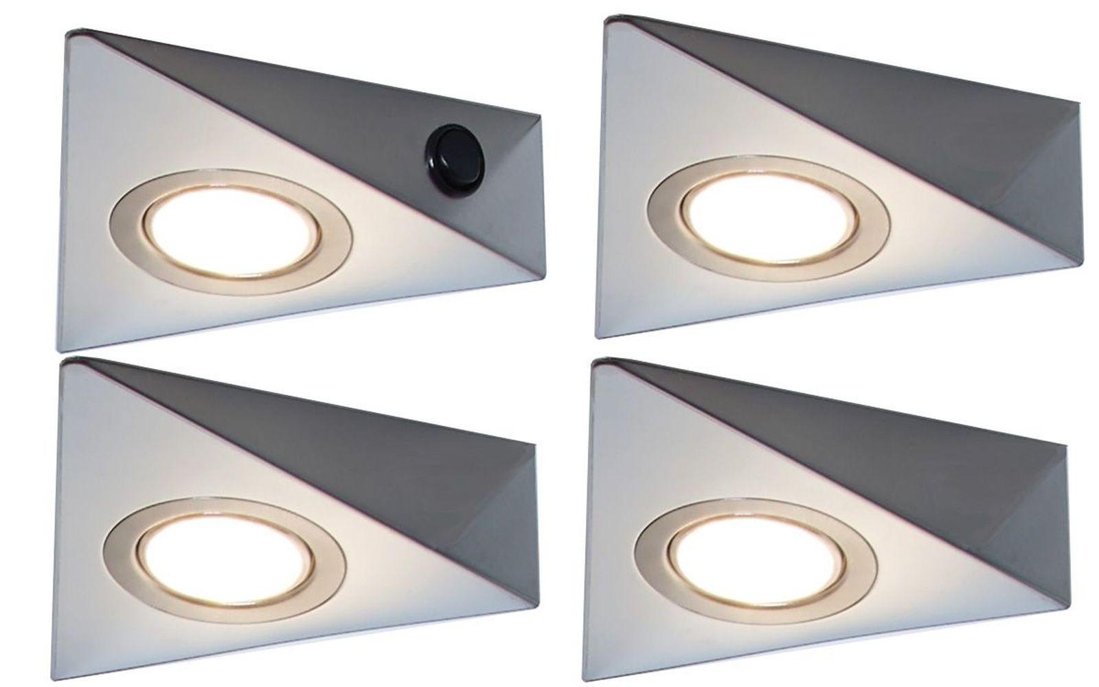 LED 4-er Set Dreieck Küchen Unterbauleuchte 4 x 3 Watt Lampenset ...
