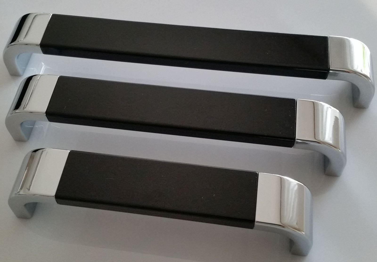 Möbelgriff BA 128 160 192 mm Verchromt Schwarz Küchen