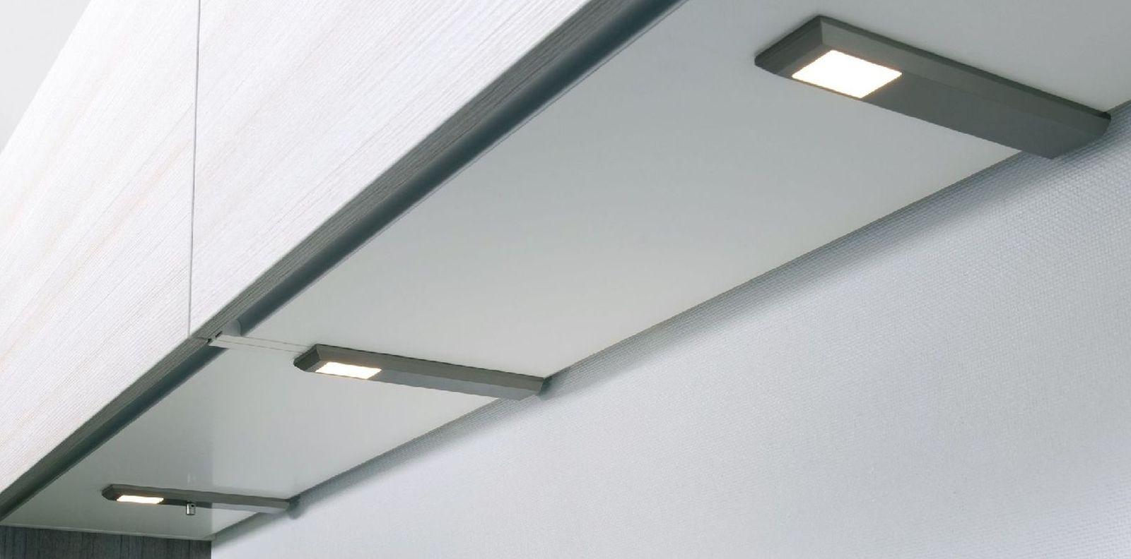 LED 5-er Set Edelstahl Küchen Unterbauleuchte MILANO 5 x 6 W dimmbar ...