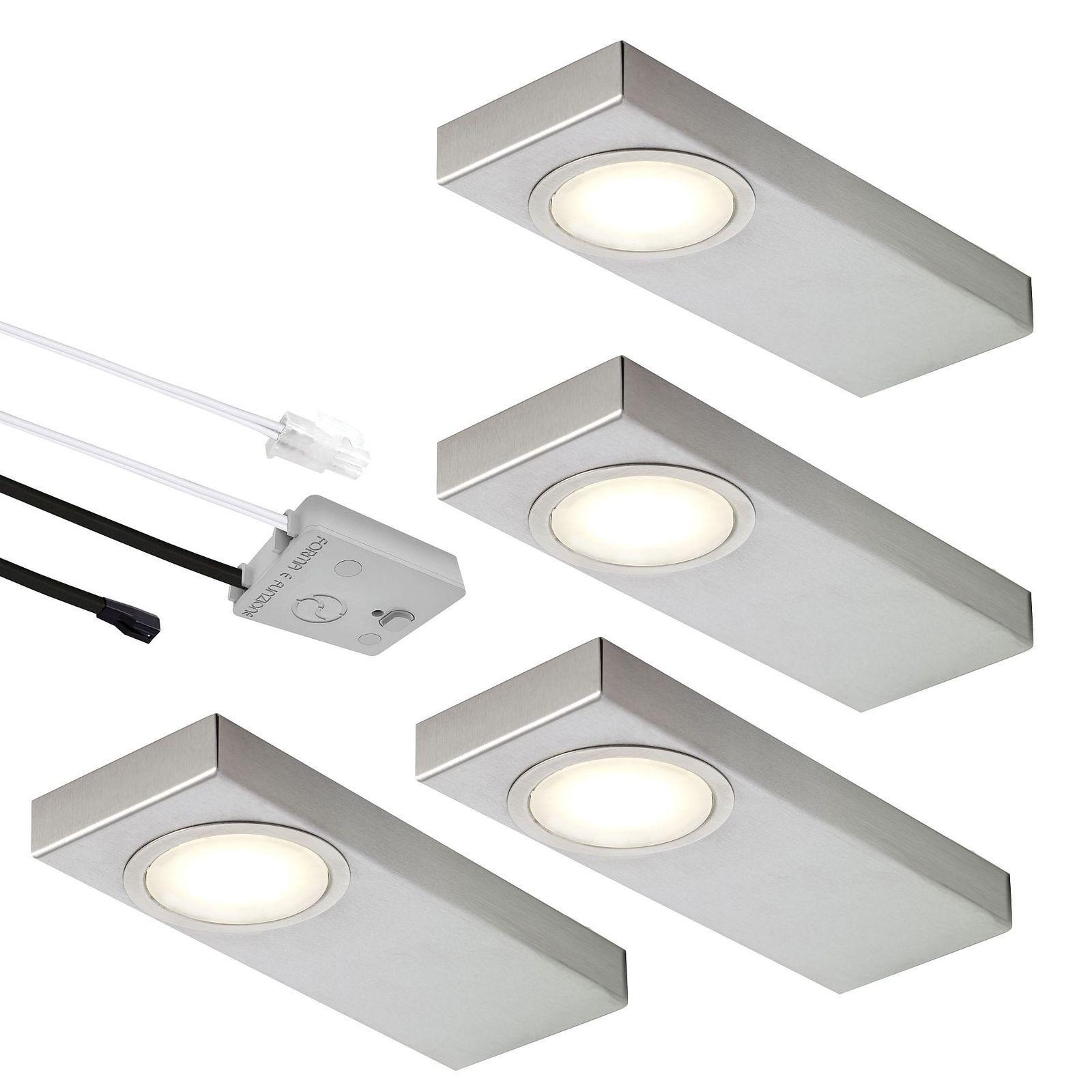 LED 4-er Set Edelstahl Küchen Unterbauleuchte Lichtfarbe regelbar ...