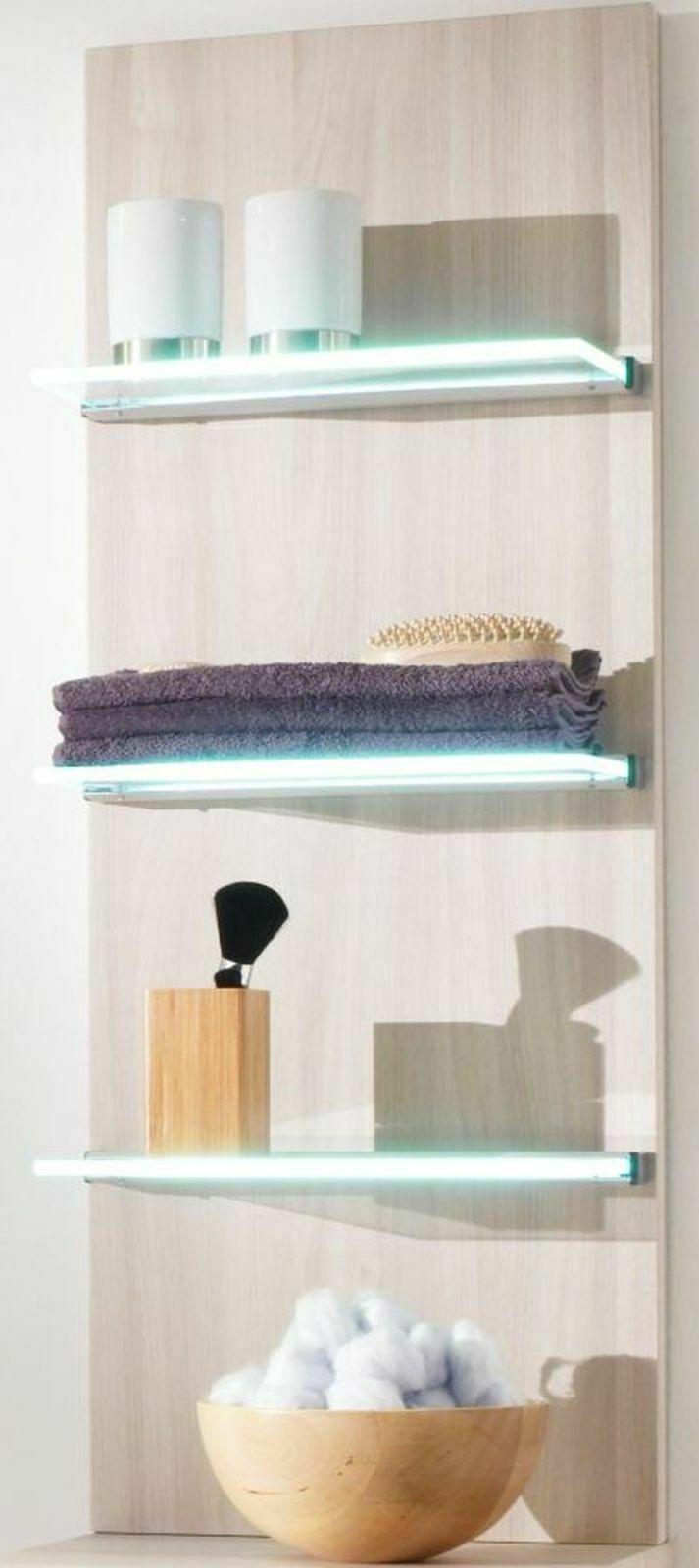 Badregal 35 Cm 3 Glasboden Beleuchtet Led Licht Wandregal