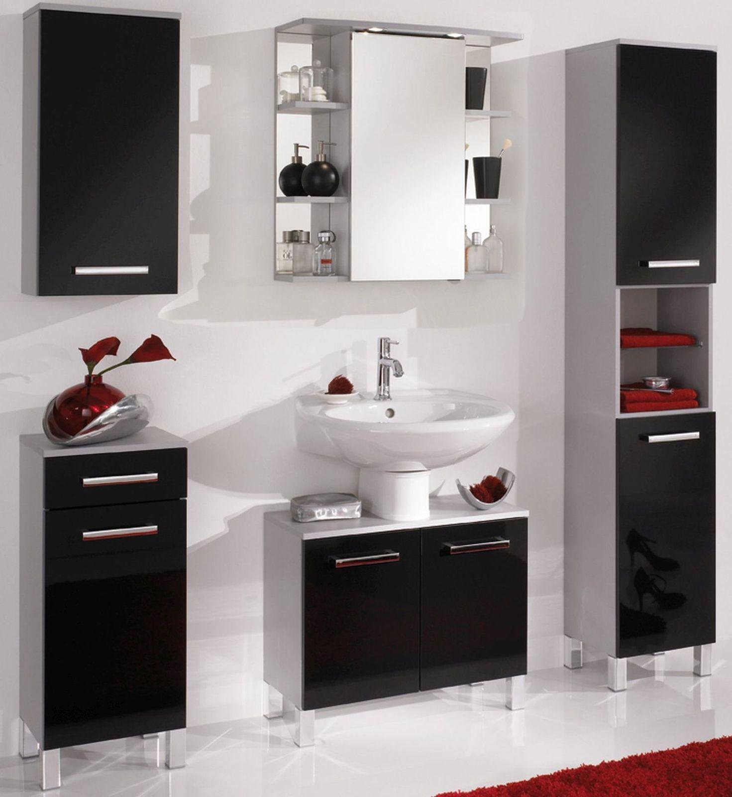 5 Tlg Badset Badezimmer Mobel Komplett Badezimmer Led Spiegelschrank
