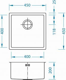 Alveus Einbau Küchenspüle 450 x 450 mm Abwaschbecken Anthrazit, Gold *Mon-Qua-30 - Vorschau 3