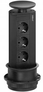 EVOline Port Küchen Einbau-Steckdose versenkbar schwarz 3-fach Steckdose *570270