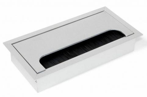 Aluminium Kabeldurchlass eckig 16 x 8 cm Kabeldurchführung Schreibtisch *2001