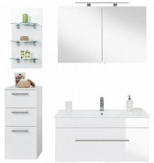 Badmöbel-Set 4 Teile Waschplatz 100cm Komplettset Badezimmer Spiegelschrank weiß