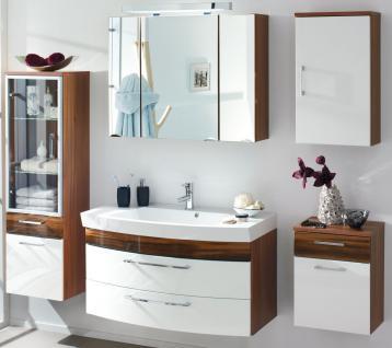 5 Teile Badmöbel Set Waschplatz 100 cm Softeinzug Spiegelschrank LED Licht *5004