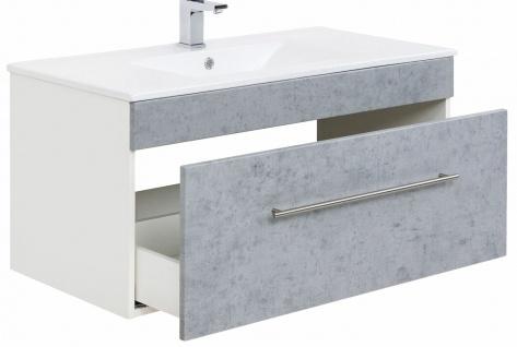 Waschplatz 100 cm VIVA Waschtisch hängend Keramikbecken 1 Schublade Beton-Optik