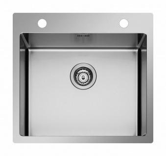 Moderne Küchenspüle 55 cm Edelstahl Spüle großes Spülbecken Hahnloch *101043201