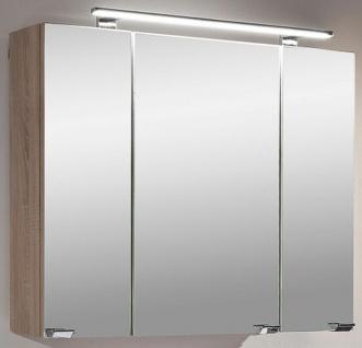 LED Spiegelschrank 80 cm Stecker-Schalter-Box 230 V 3 Türen 6 Glasböden *5681-14