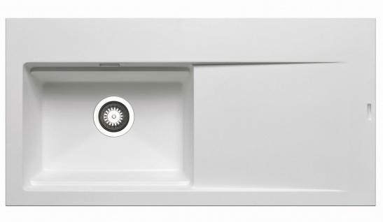 Große Einbauspüle 100x51 cm Küchenspüle Tekton Spülbecken links Spüle weiss