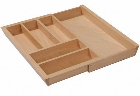 Besteckeinsatz Holz Besteckkasten ausziehbar Schublade 40-60 cm Buche massiv