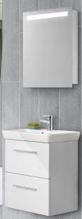 2 Teile Badset Waschplatz 55 cm Gäste WC Badmöbel LED Spiegelschrank *309934