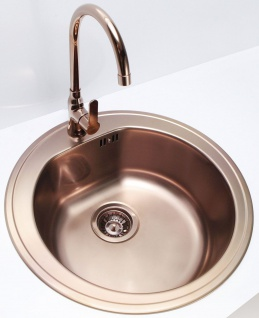 Alveus Einbauspüle Küchenpüle Ø 510 mm Spülenset Armatur Wasserhahn Kupfer *Set1