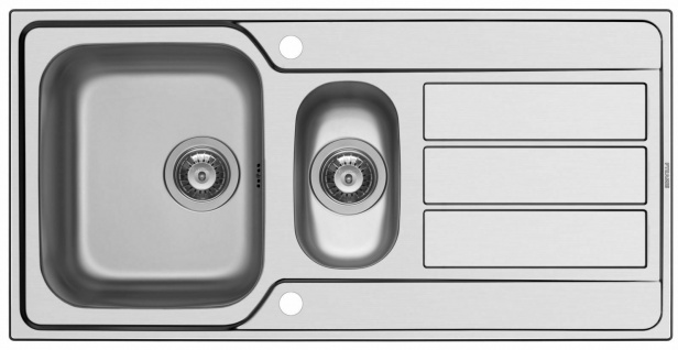 Edelstahl Einbauspüle 100 x 50 cm Fernbedienung Küchenspüle Hahnloch *107166012