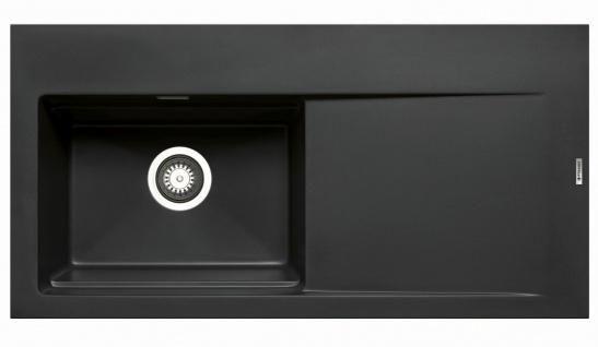 Große Einbauspüle 100x51 cm Küchenspüle Tekton Spülbecken links Spüle schwarz