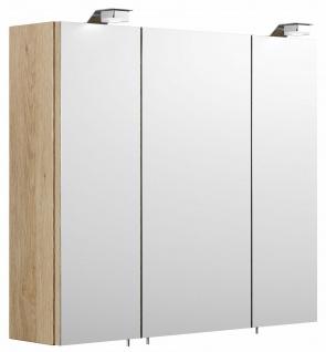 Posseik Spiegelschrank 70 cm mit 2 LED Leuchten Badspiegel EEK A+ 3 Türen *5423