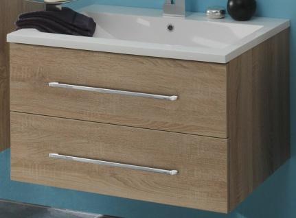 Badmöbel Set 3 Teile Waschplatz 80 cm LED Spiegelschrank Badezimmer *Ram-80-Holz - Vorschau 4