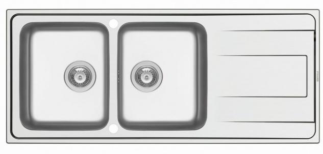 Doppelspüle 116 cm Edelstahl Doppelspülbecken große Küchenspüle Alea *107161112
