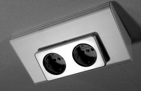 Unterbausteckdose Küche Bad WC 2 fach Küchensteckdose Steckdose Aluminium *32830