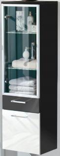 Hochschrank 40 x 134, 5 x 30 cm Glastür Badschrank LED Glasboden Licht *5815-84