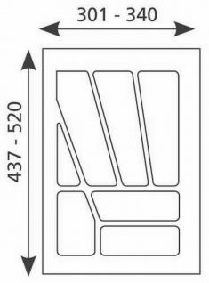 Schubladen-/Besteckeinsatz 301-340 mm Besteckkasten kürzbar 40 cm *Multi-40