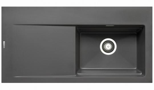 Große Einbauspüle 100x51 cm Küchenspüle Tekton Spülbecken rechts Spüle iron grey