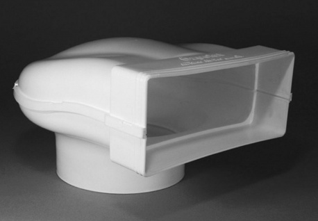 Umlenkstück Abluft Flachkanal 220x90 mm auf Ø 150 mm Abzugshaube Küche *50313