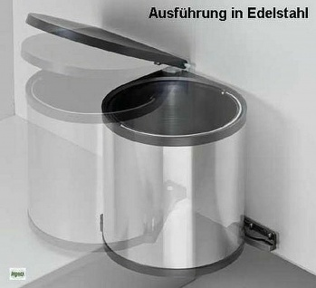 Einbau-Mülleimer Küche 12L Kosmetikeimer Edelstahl Abfalleimer Bioeimer *515998 - Vorschau 4