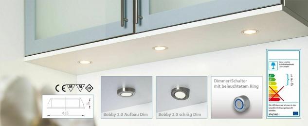 Rolux LED Einbaustrahler dimmbar 4x3 Watt Edelstahl Optik Bobby warmweiß *554102 - Vorschau 4