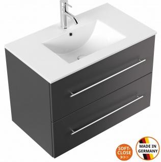 Waschtisch mit Unterschrank 80 cm Waschplatz Homeline 2 Softclose Schubladen