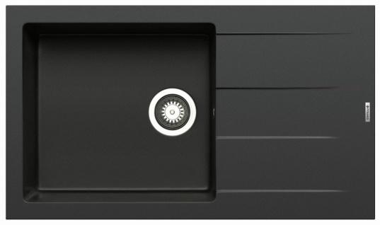 Küchenspüle 86 x 50 cm Einbauspüle Athlos Plus Spülbecken 1 Becken Spüle carbon